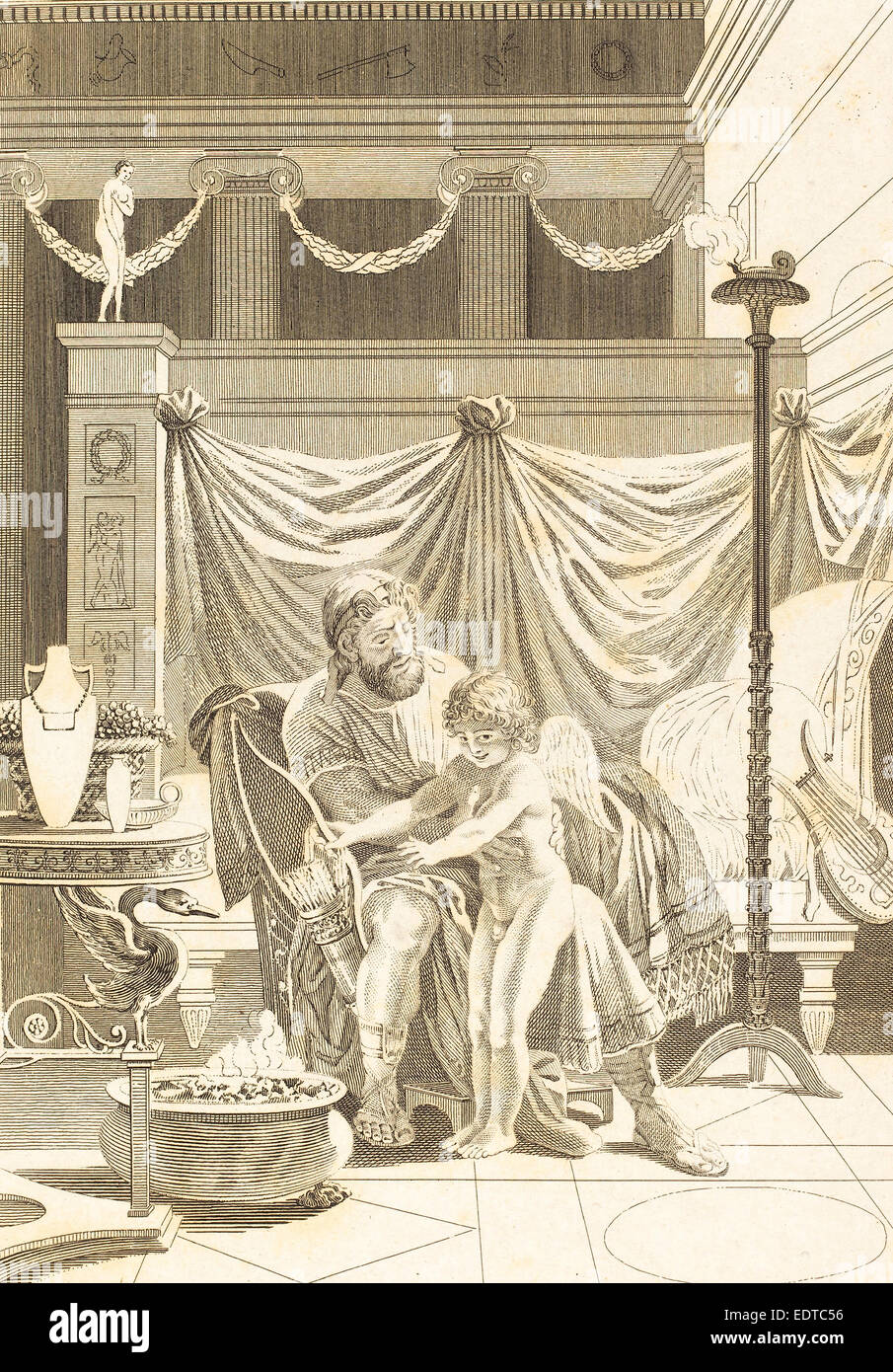 French 18th Century, Autre imitation: L'amour mouille, etching - Stock Image