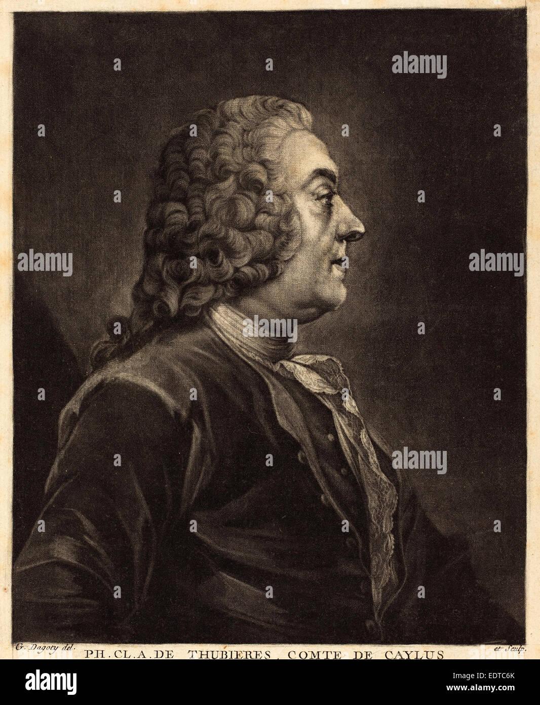 Jean-Baptiste-André Gautier Dagoty (French, 1740 - 1786), Ph. Cl. A. de Thubières, Comte de Caylus, c. - Stock Image