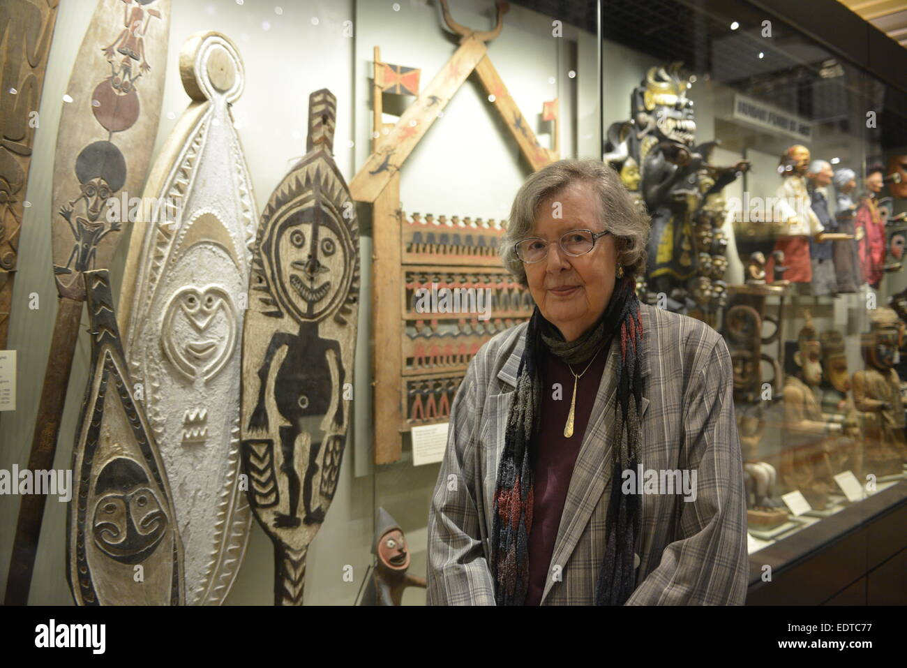 Author  Dame Penelope Lively with tribal  artefacts  at the Pitt Rivers Museum,  Oxford. - Stock Image
