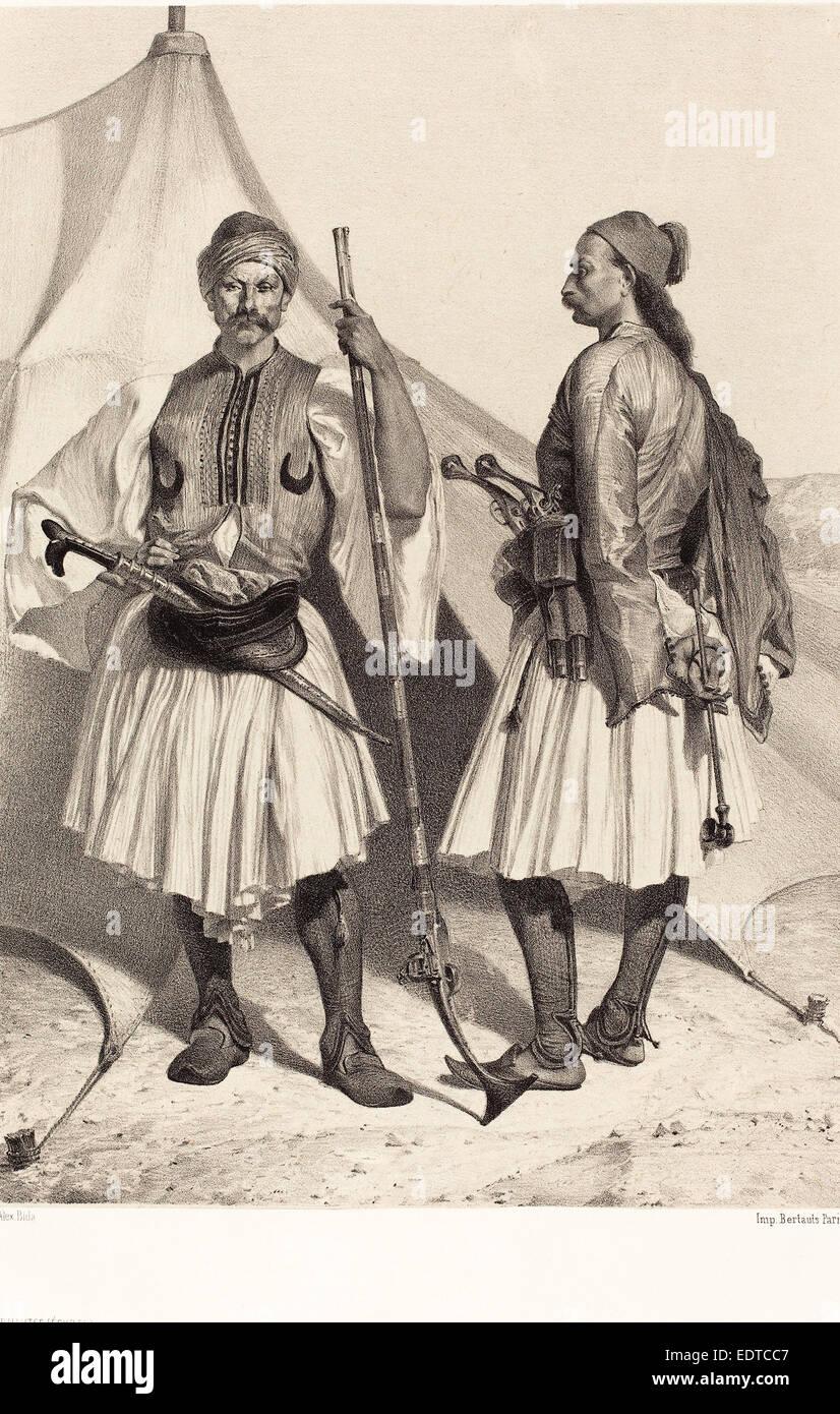 Alexandre Bida (French, 1823 - 1895), Arnautes, Égypte (Albanians, Egypt), lithograph on chine collé - Stock Image