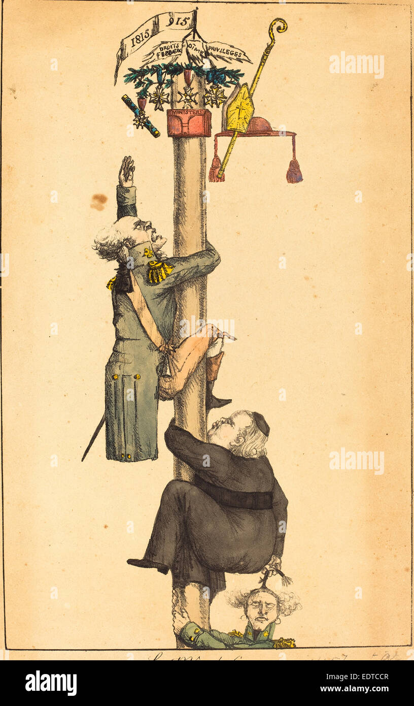 French 19th Century, The Greasy Pole, 1815, lithograph - Stock Image