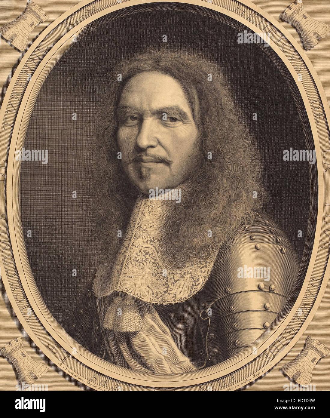 Robert Nanteuil (French, 1623 - 1678), Marechal de Turenne, 1665, engraving - Stock Image