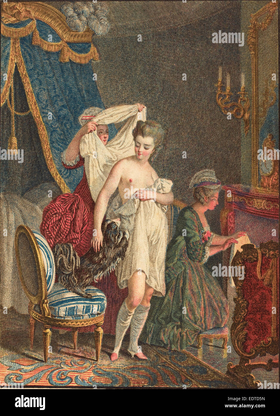 Nicolas Francois Regnault (French, 1746 - c. 1810), Le Lever, color stipple etching and etching Stock Photo