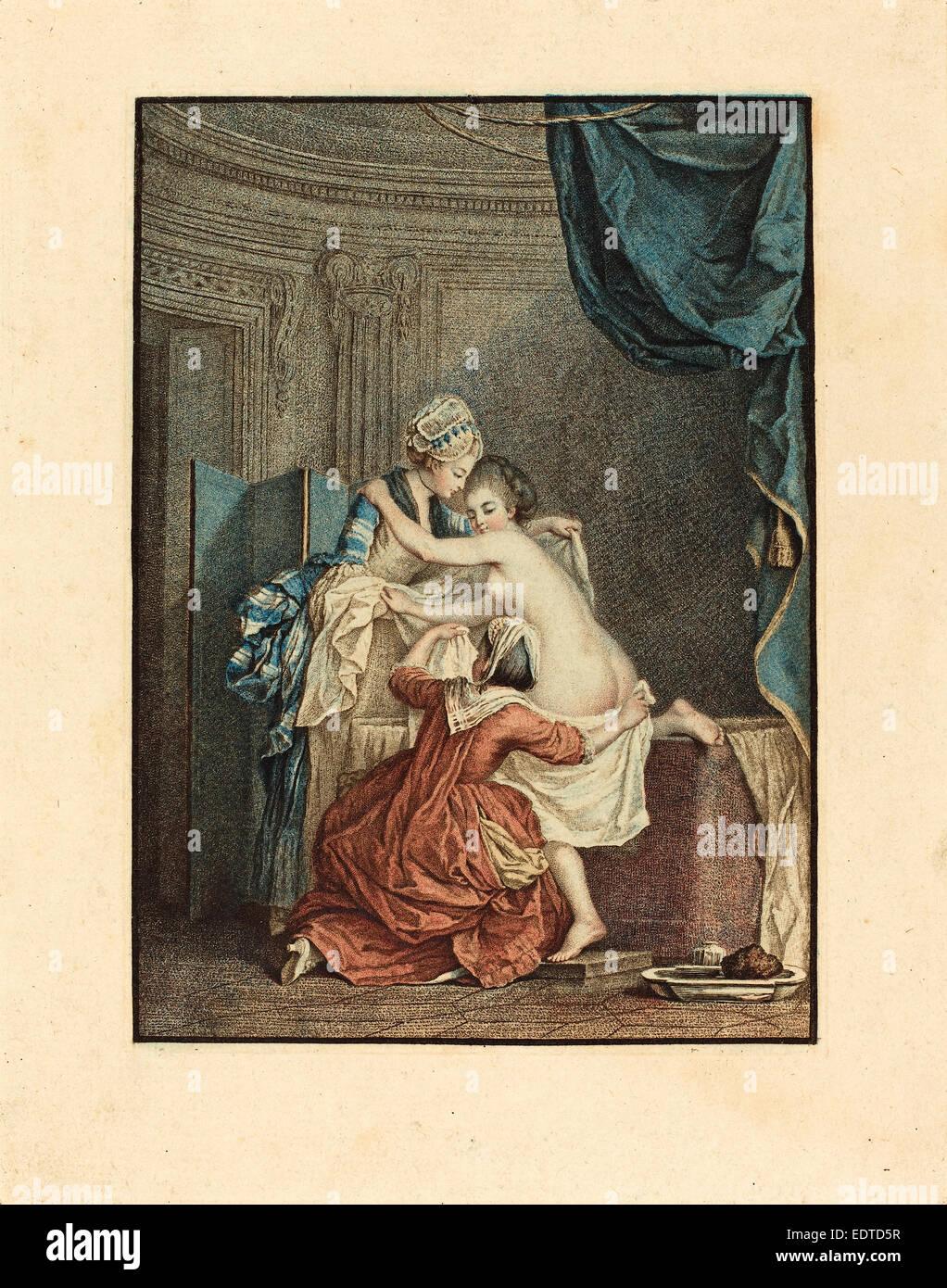 Nicolas Francois Regnault after Pierre-Antoine Baudouin (French, 1746 - c. 1810), Le bain (The Bath), color stipple etching Stock Photo