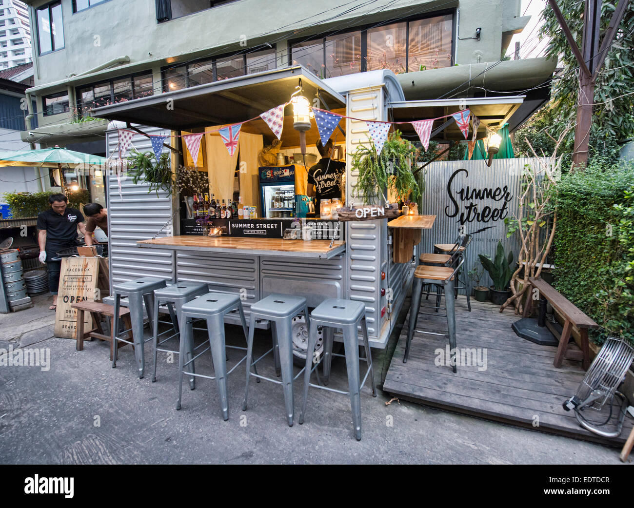 Food truck and outdoor dining bangkok thailand stock image