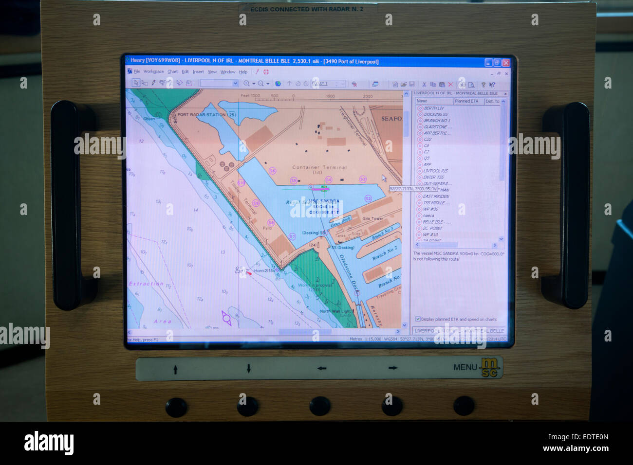 Electronic chart on the bridge of the Panama-registered container ship MSC Sandra, sailing from Seaforth Docks, - Stock Image