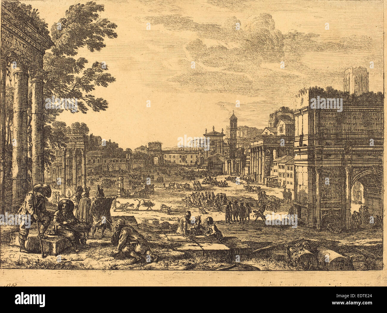 Claude Lorrain (French, 1604-1605 - 1682), The Roman Forum (Le Campo Vaccino), 1636, etching - Stock Image