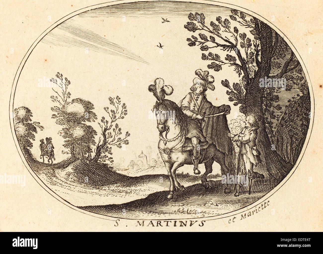 Balthasar Moncornet (French, c. 1600 - 1668), Saint Martin and the Beggar, engraving - Stock Image