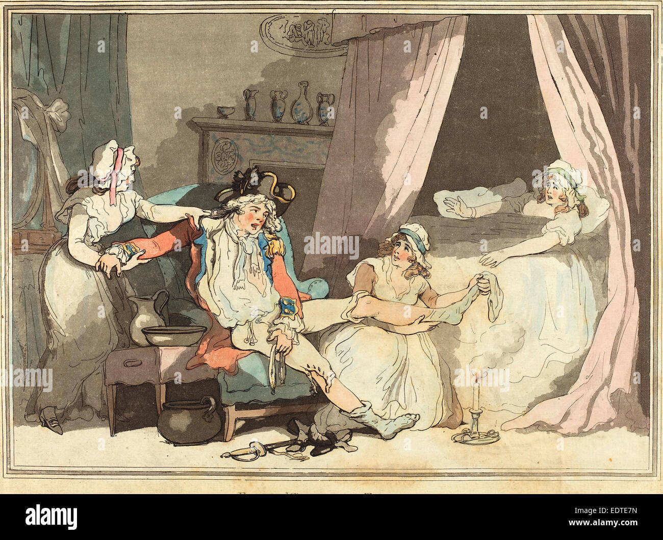 Thomas Rowlandson (British, 1756 - 1827), Four O'Clock in Town, 1788,  hand-colored etching and aquatint