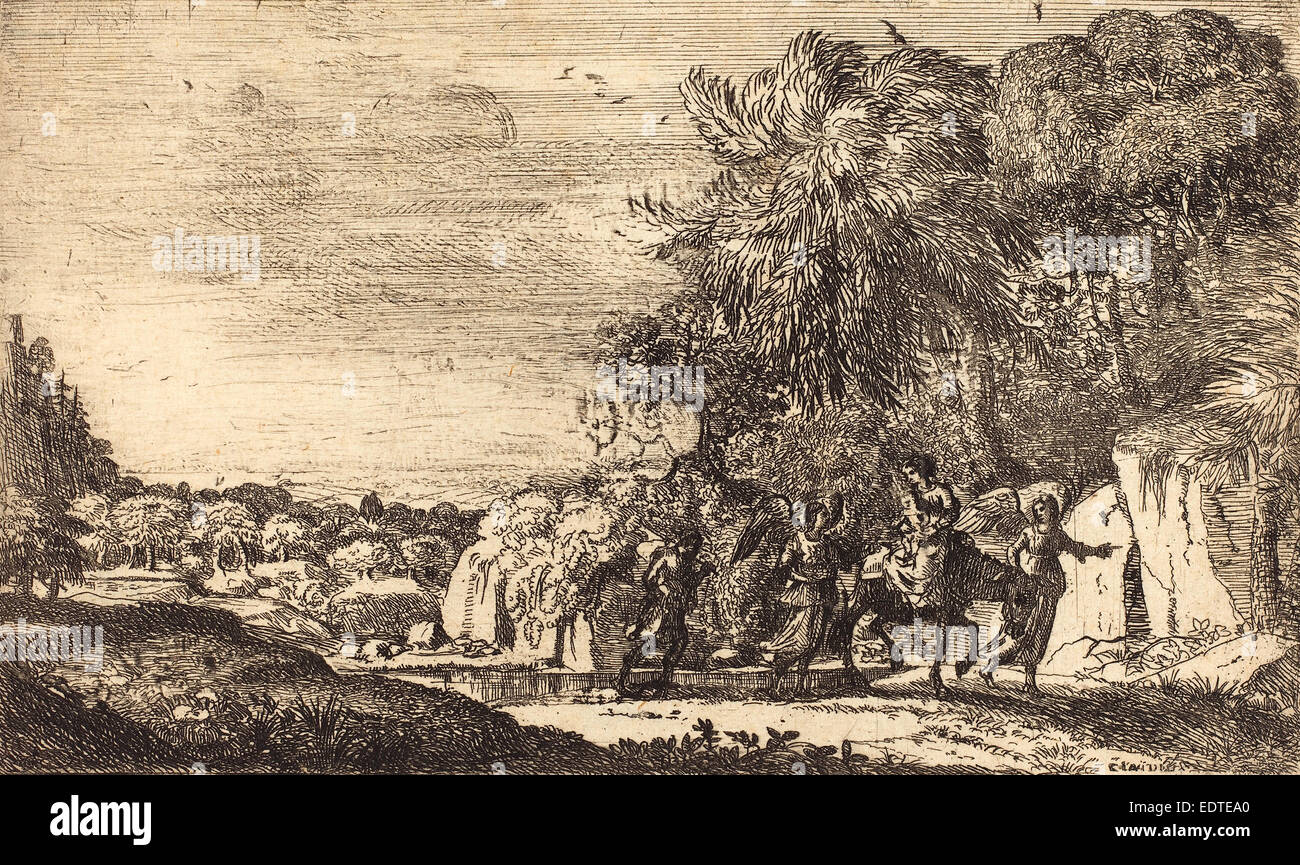 Claude Lorrain (French, 1604-1605 - 1682), The Flight into Egypt (La fuite en Egypte), c. 1630-1633, etching - Stock Image