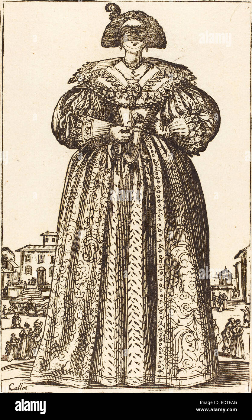 after Jacques Callot, Masked Noble Woman, woodcut - Stock Image