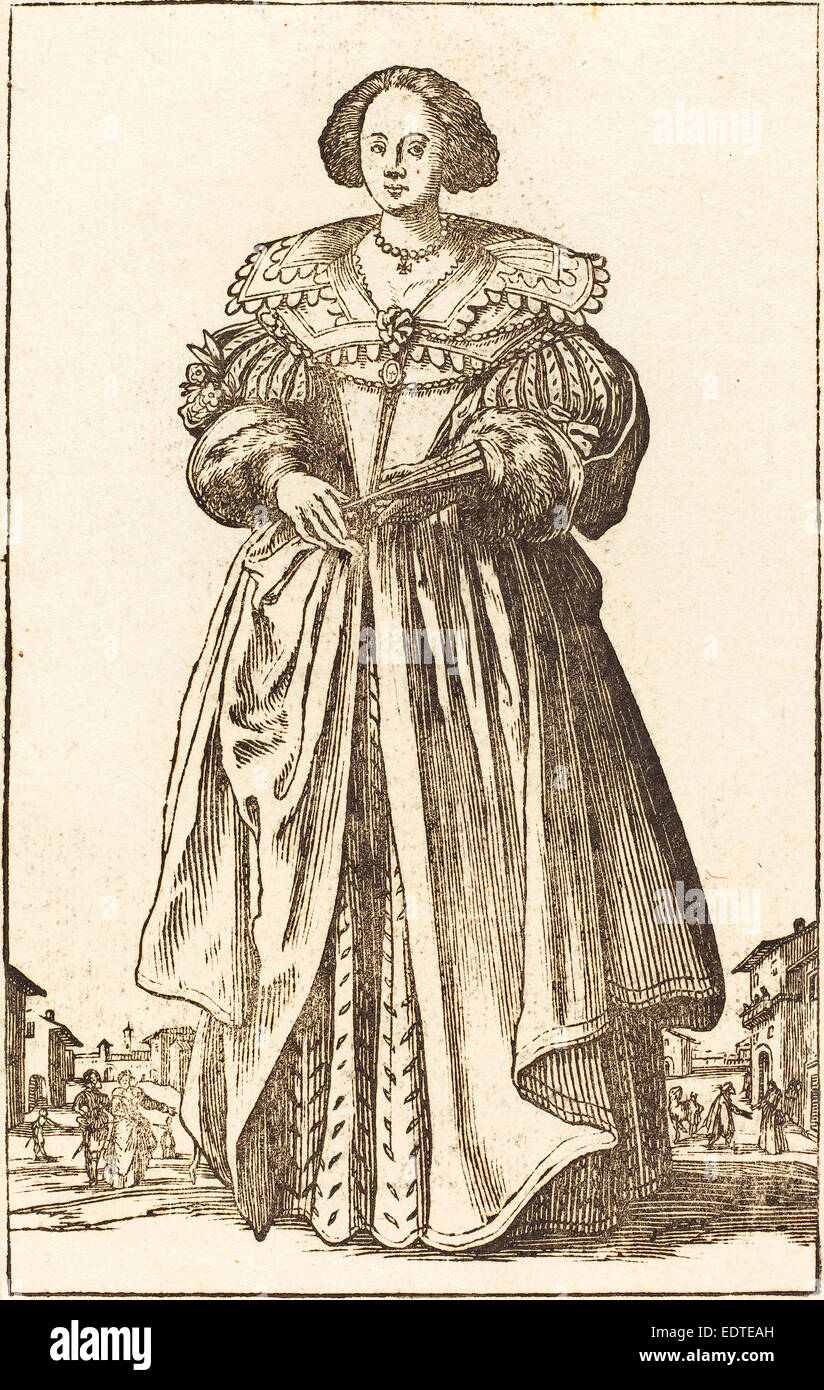 after Jacques Callot, Noble Woman with Fan, woodcut Stock Photo