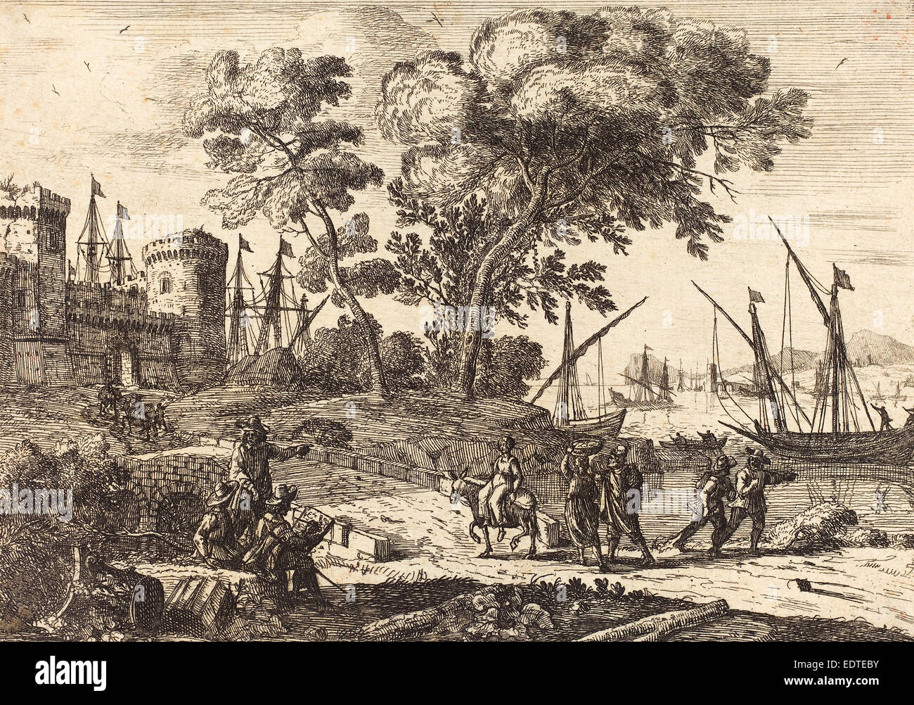 Claude Lorrain (French, 1604-1605 - 1682), Coast Scene with an Artist (Le dessinateur), c. 1638-1641, etching - Stock Image