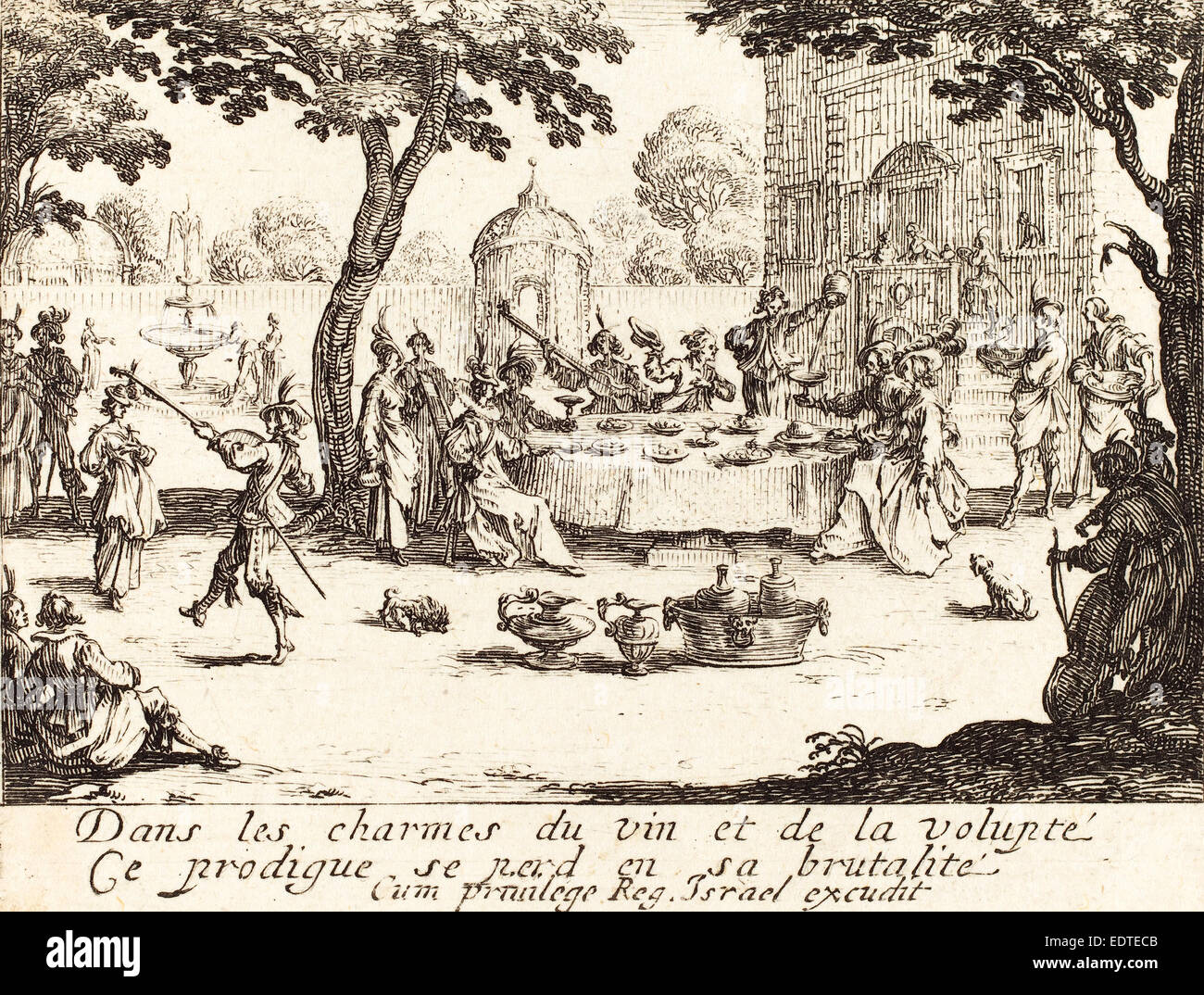 Jacques Callot (French, 1592 - 1635), The Dissipation, etching Stock Photo