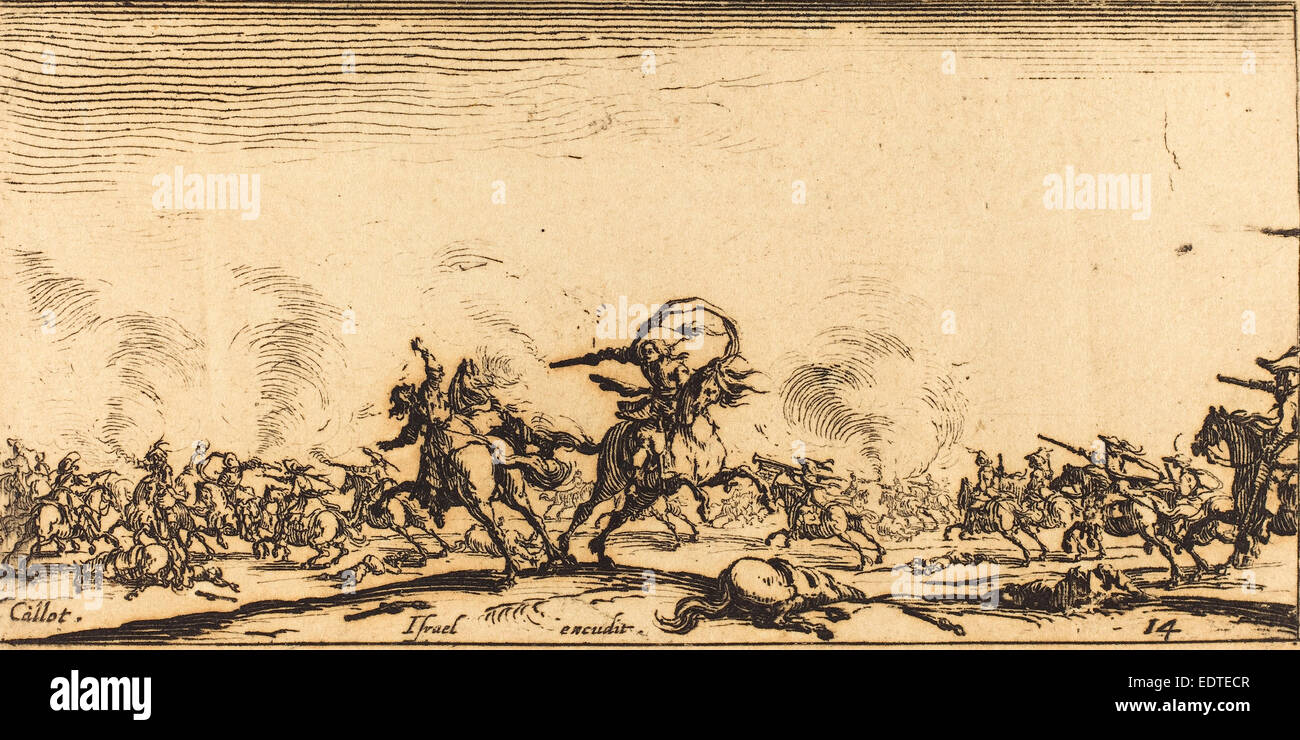 Jacques Callot (French, 1592 - 1635), The Cavalry Combat with Pistols, c. 1632-1634, etching - Stock Image