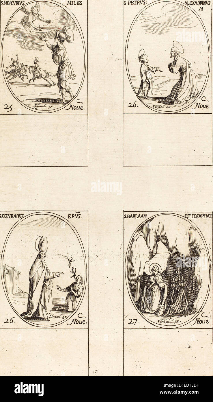 Jacques Callot (French, 1592 - 1635), St. Mercury; St. Peter of Alexandria; St. Conrad; Sts. Barlaam and Josaphat, - Stock Image