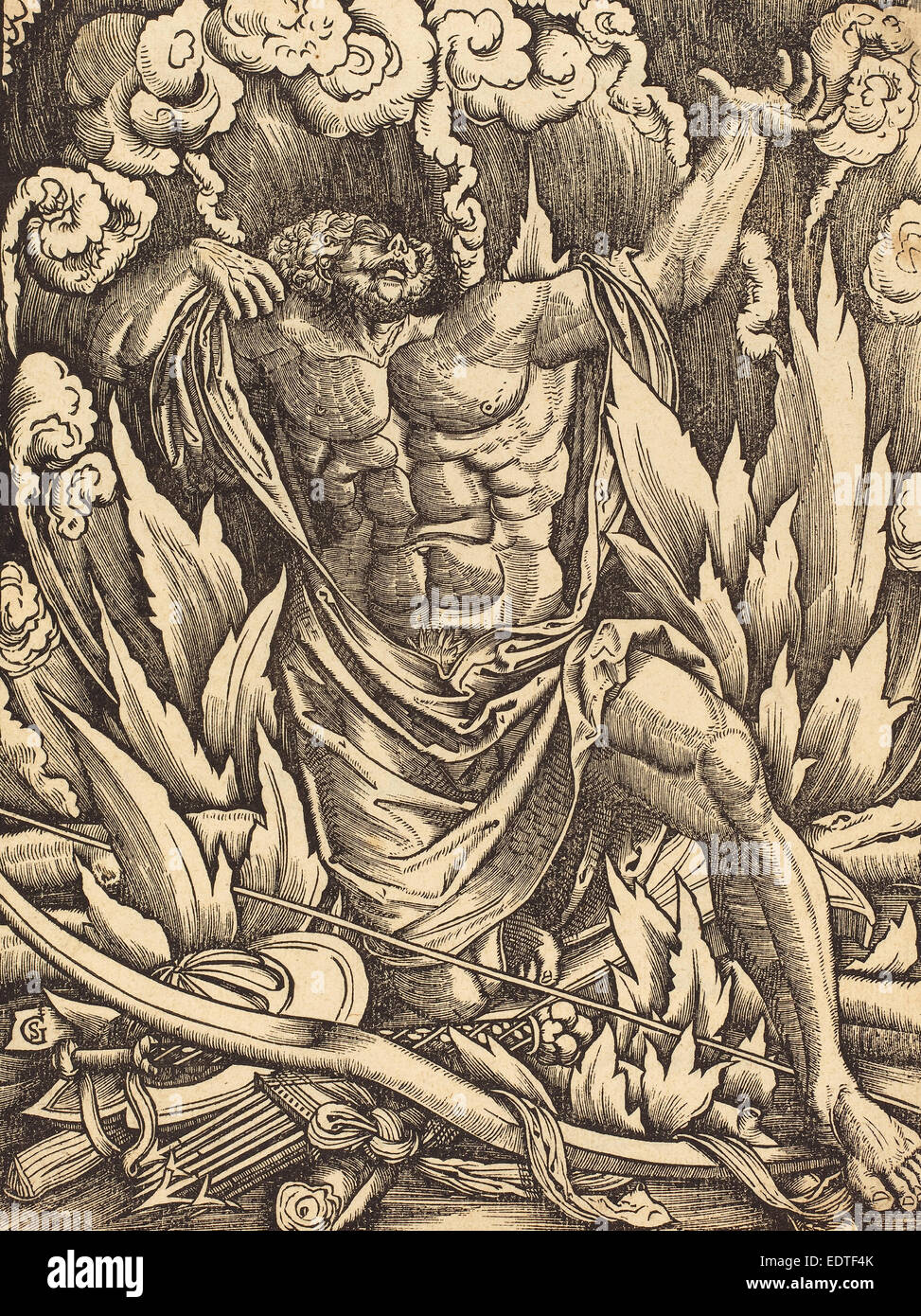 Gabriel Salmon (French, active 1504-1542), The Death of Hercules, woodcut