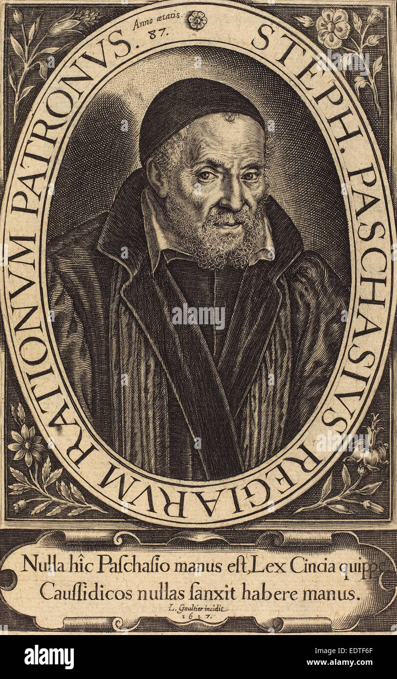 Léonard Gaultier (French, 1561 - 1641), Stephanus Paschinus, 1617, engraving Stock Photo