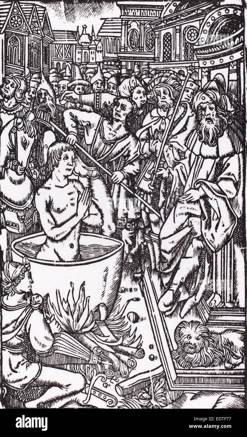Probably French 16th Century, The Martyrdom of a Saint, woodcut Stock Photo