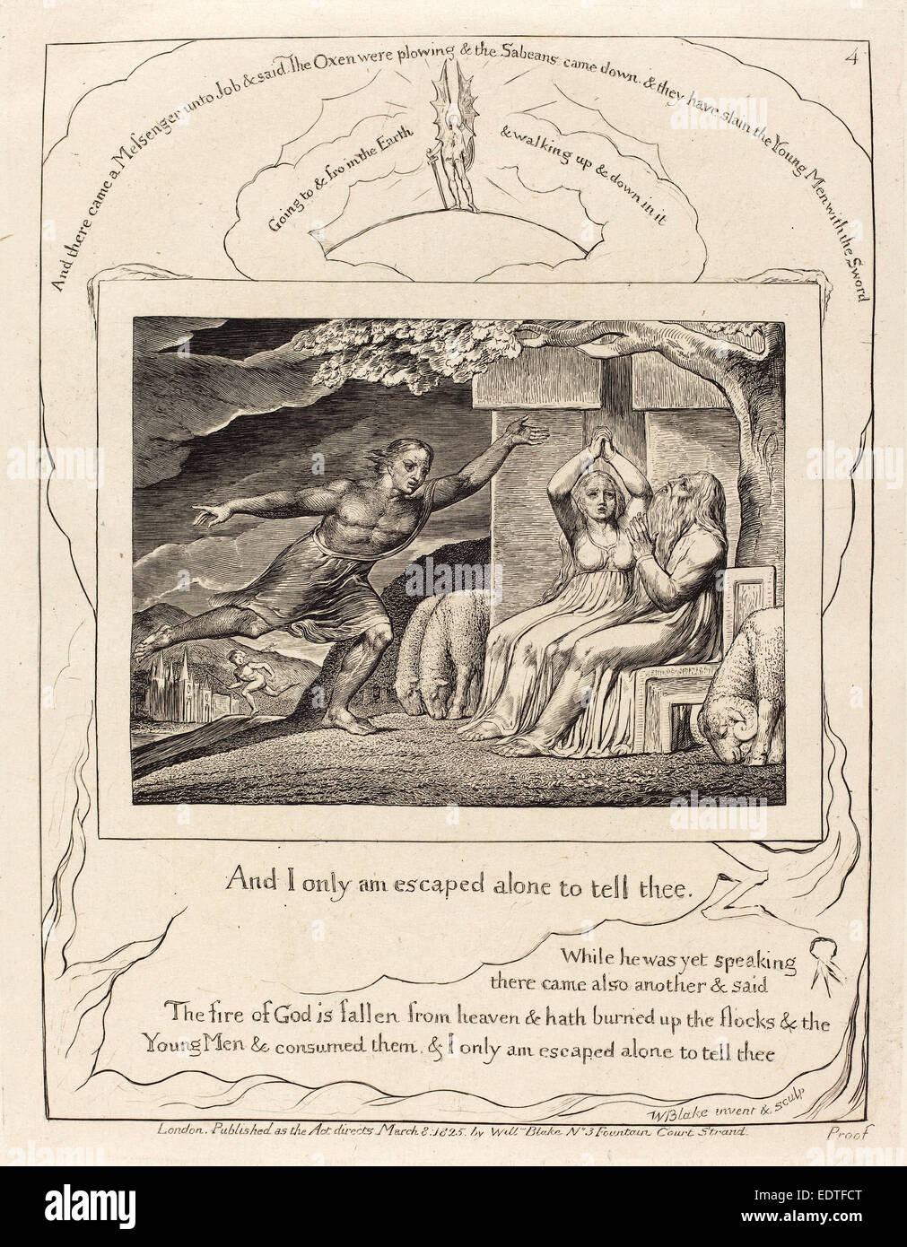 William Blake (British, 1757 - 1827), The Messengers Tell Job of His Misfortunes, 1825, engraving on India paper - Stock Image