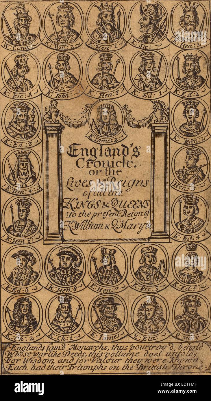 British 17th Century, Frontispiece, engraving - Stock Image