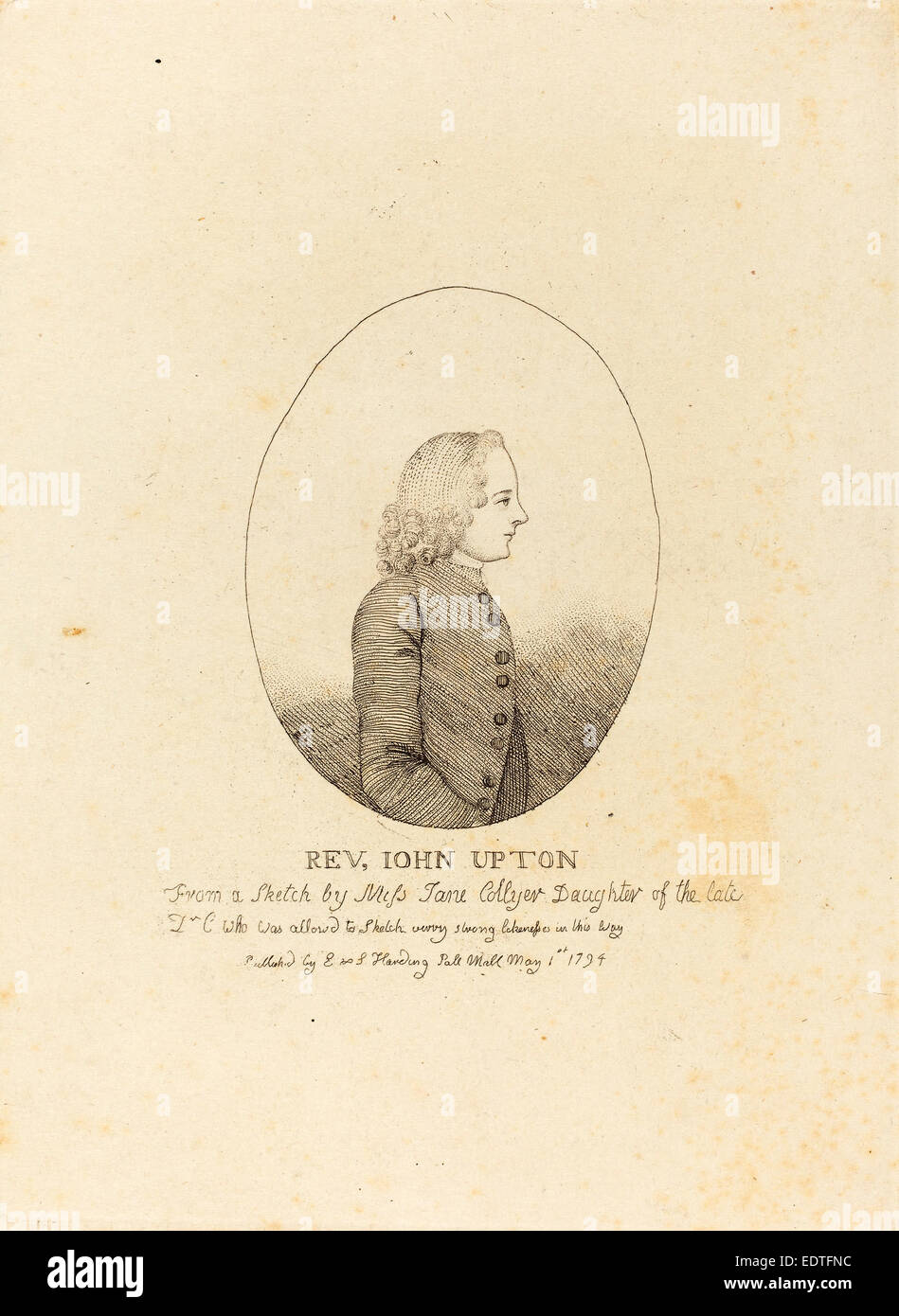 after Jane Collyer, Reverend John Upton, published 1794, etching with stipple - Stock Image