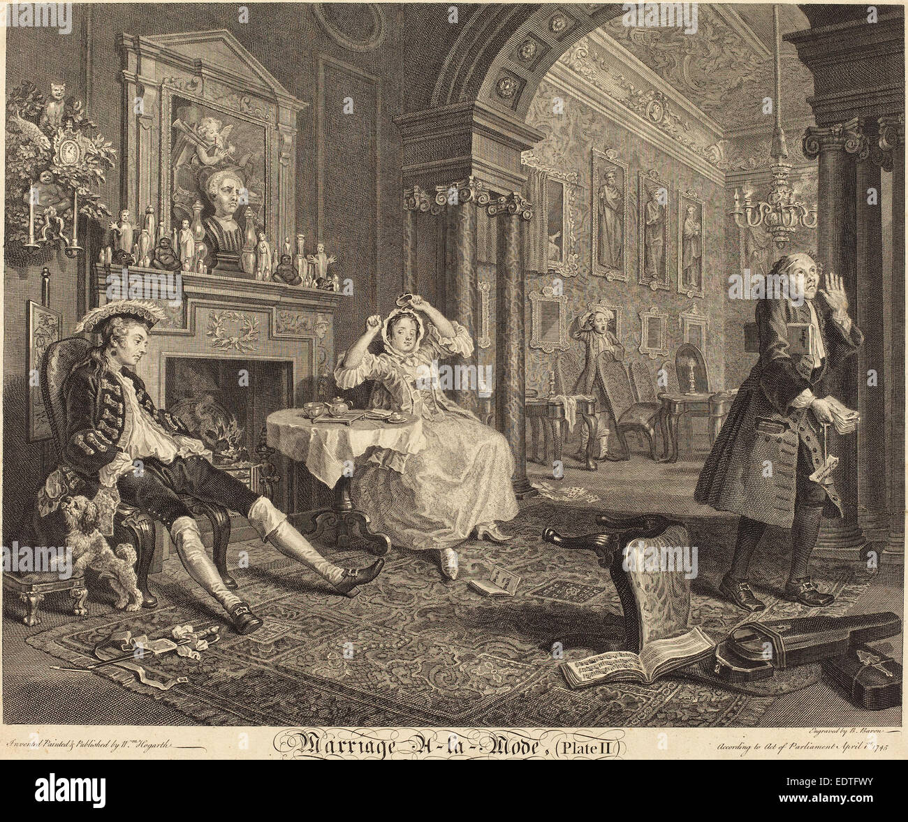 Bernard Baron after William Hogarth (French, 1696 - 1762), Marriage a la Mode: pl. 2, 1745, etching and engraving Stock Photo