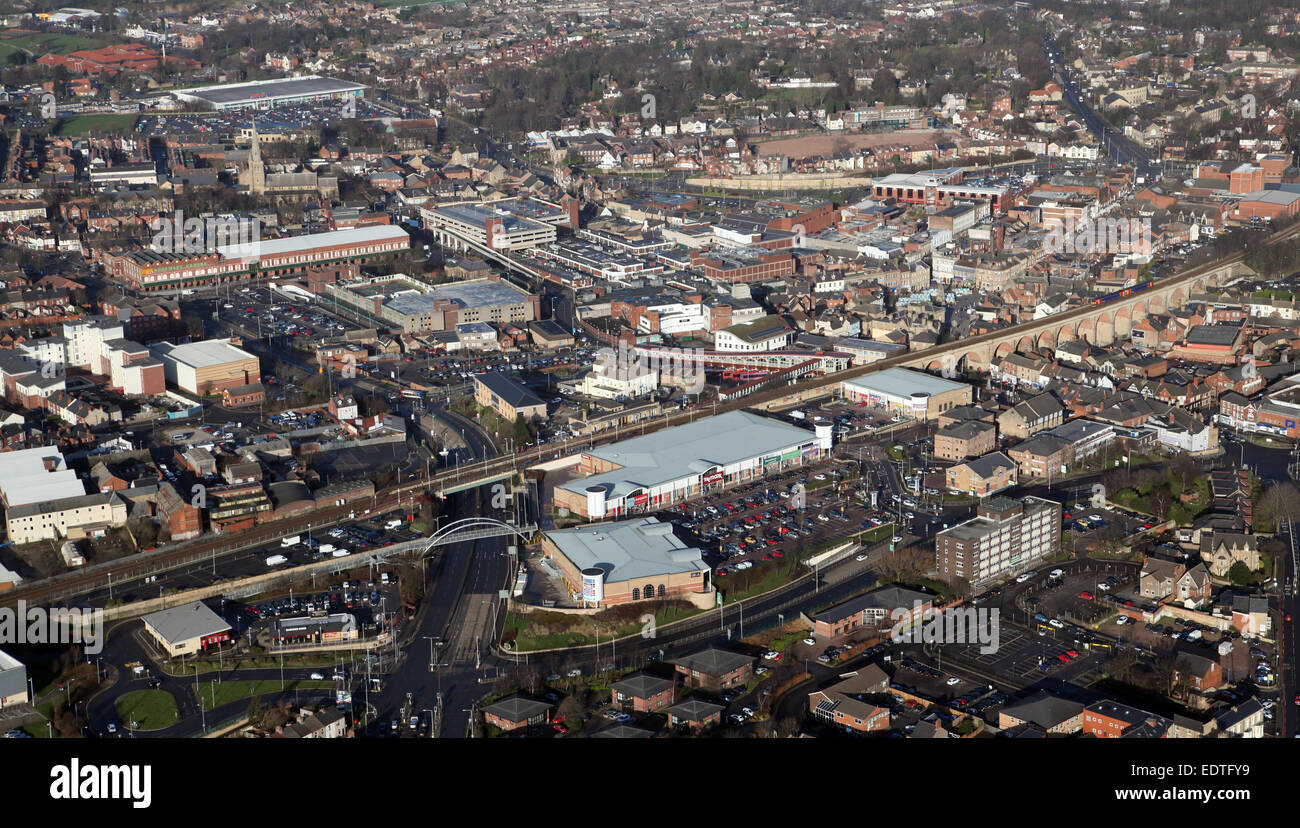 aerial view of the Nottinghamshire town of Mansfield, UK - Stock Image