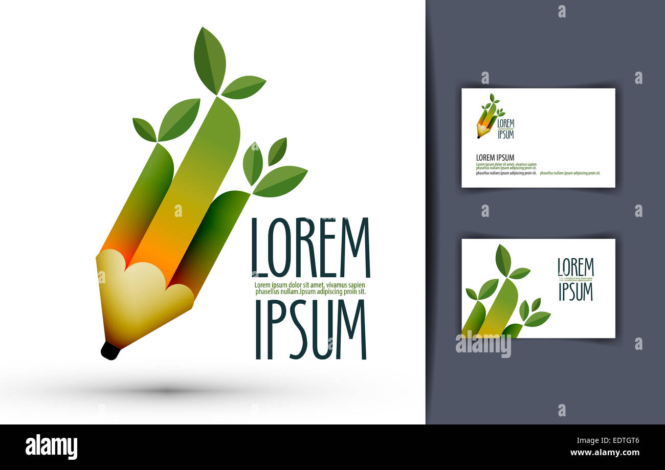 pencil. logo, icon, sign, emblem, template, business card Stock ...