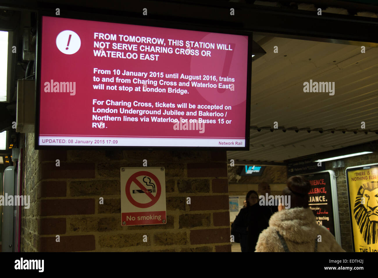 London, UK. 09 Jan 2015. A sign at London Bridge station warns passengers that from 10th January 2015 until August Stock Photo