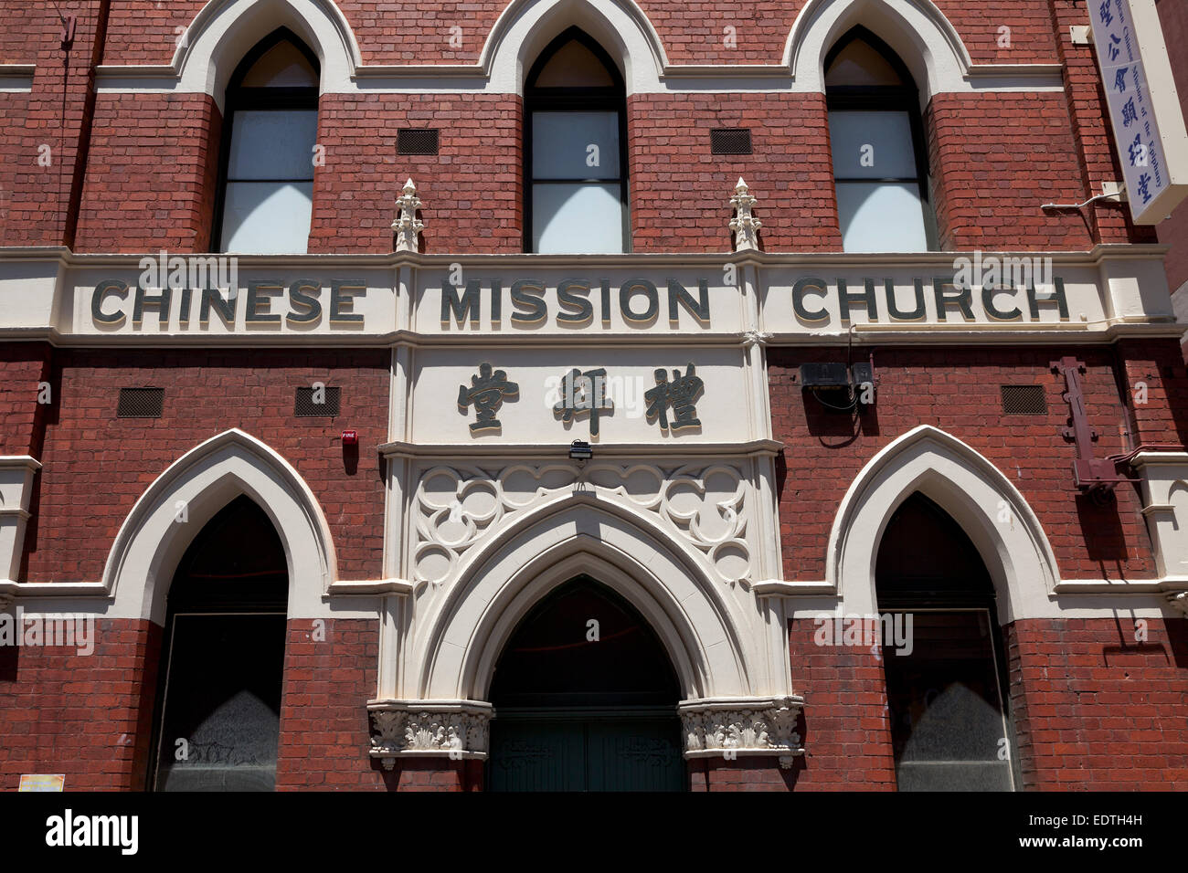 Chinese Mission Church in Chinatown in Melbourne, Australia - Stock Image