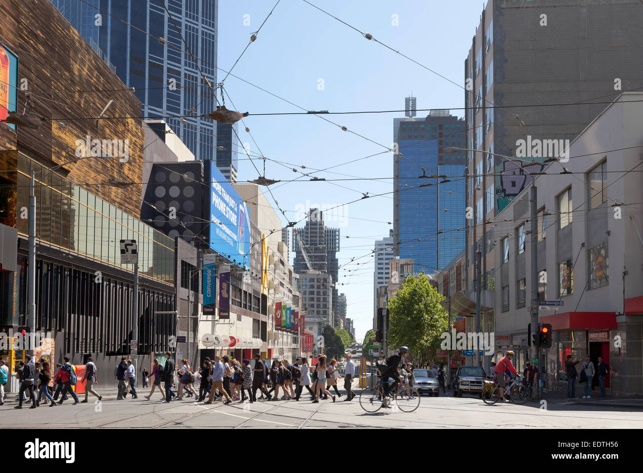 Street view of La Trobe street in Melbourne, Australia - Stock Image