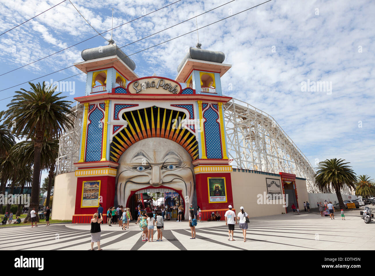 Entrance Gate to Luna Park St Kilda Melbourne, Australia - Stock Image
