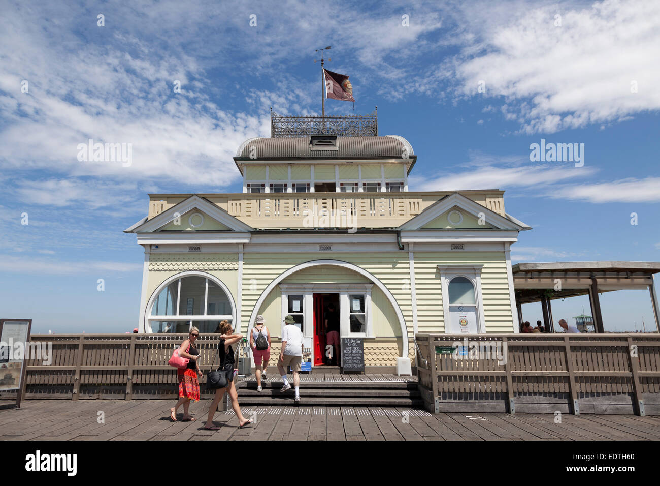St Kilda's newly restored tea room kiosk at the end of the pier, Melbourne, Australia - Stock Image