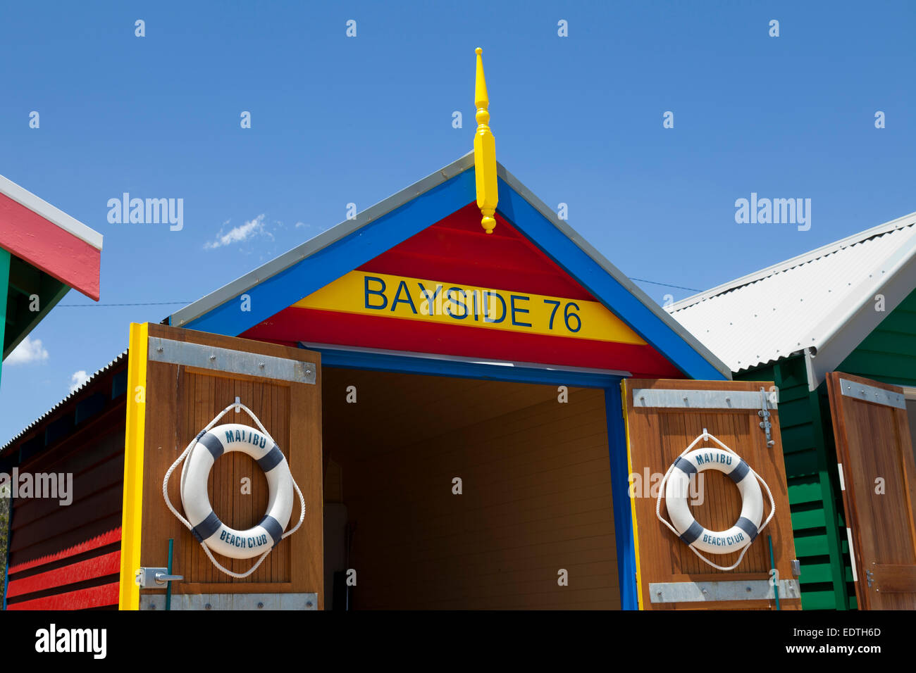 Painted Beach hut in Melbourne Brighton Beach, Australia - Stock Image
