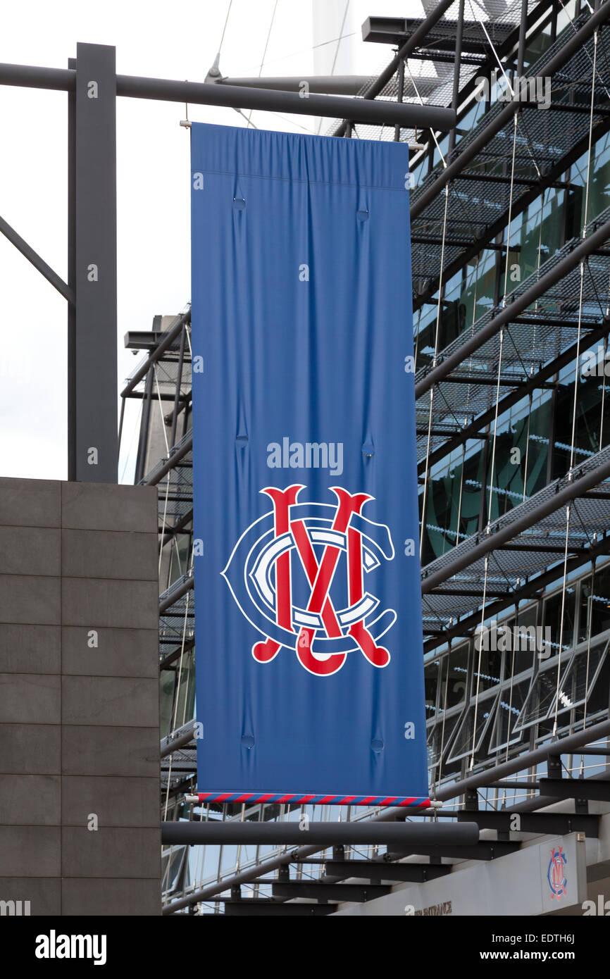 Melbourne cricket ground logo on banner, Australia - Stock Image