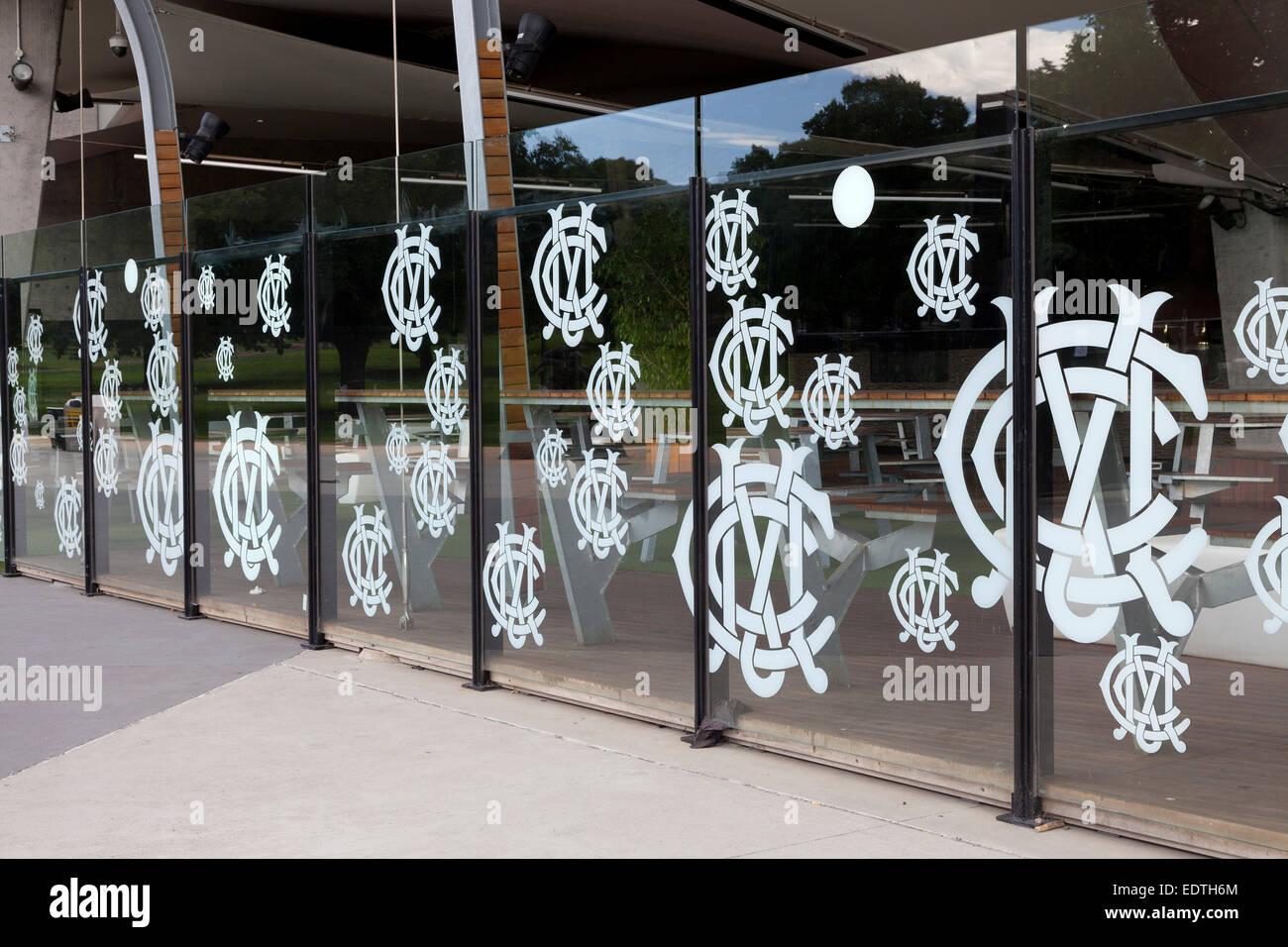 Melbourne cricket ground logo on the windows, Australia - Stock Image