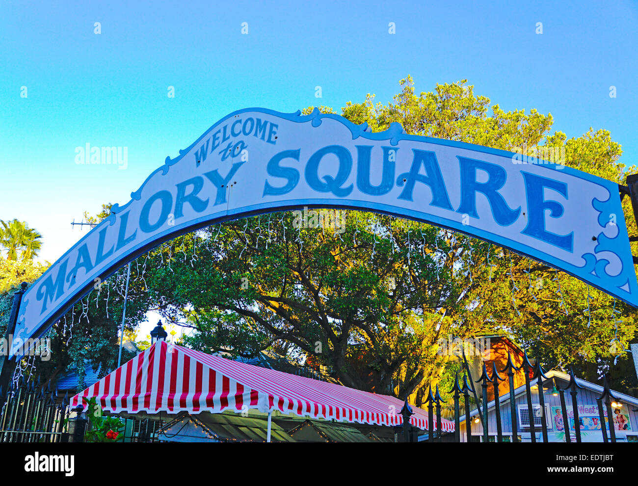 Mallory Square sign in Key West. - Stock Image