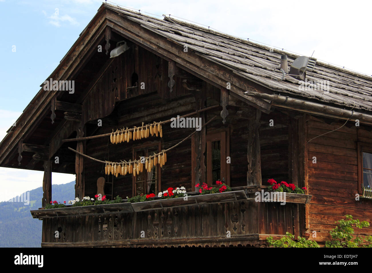Altes Holzhaus in Ladis, Tirol, Österreich,Old wooden house in Ladis, Tyrol, Austria,ladis, austria, village, - Stock Image