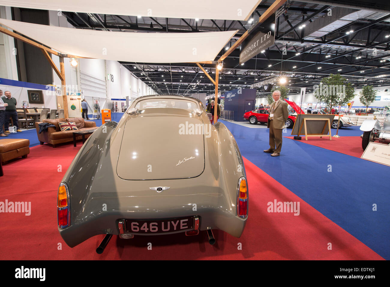 Rear View The Classic Car Show at London Excel, a limited production run Bentley La Sarthe 1953 R Type Fastback - Stock Image