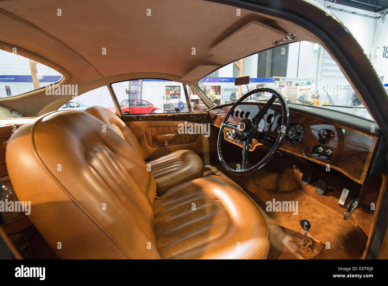 Interior, The Classic Car Show at London Excel, a limited production run Bentley La Sarthe 1953 R Type Fastback - Stock Image