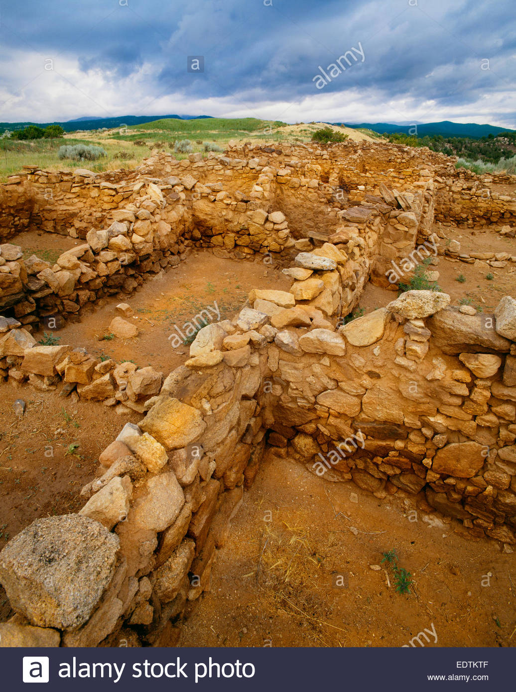 Ruins of Pecos Pueblo, Pecos National Historical Park, New Mexico. - Stock Image