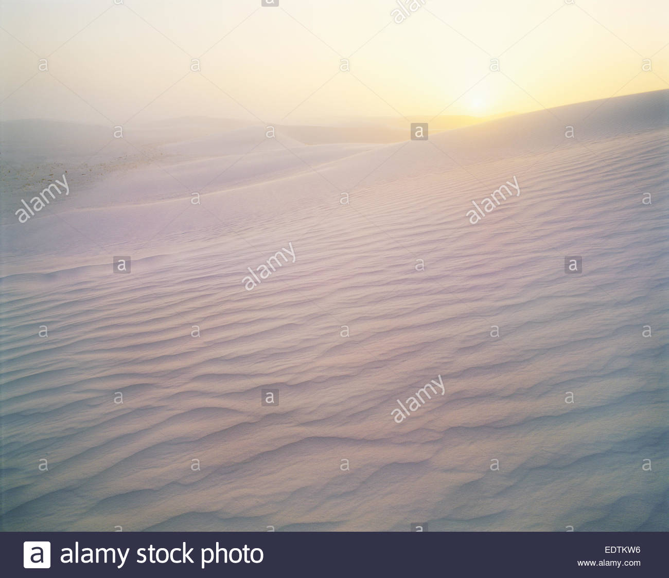Strong winds over gypsum dunes at sunrise.  White Sands National Monument, New Mexico. Stock Photo