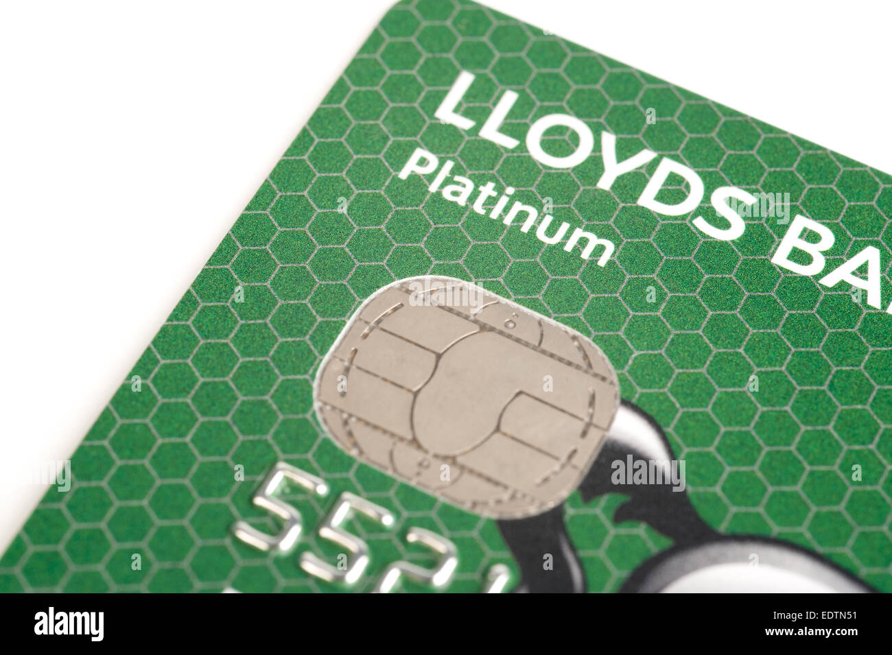 Lloyds Bank Integrated Circuit Card ICC) Chip Credit Card Detail - Stock Image