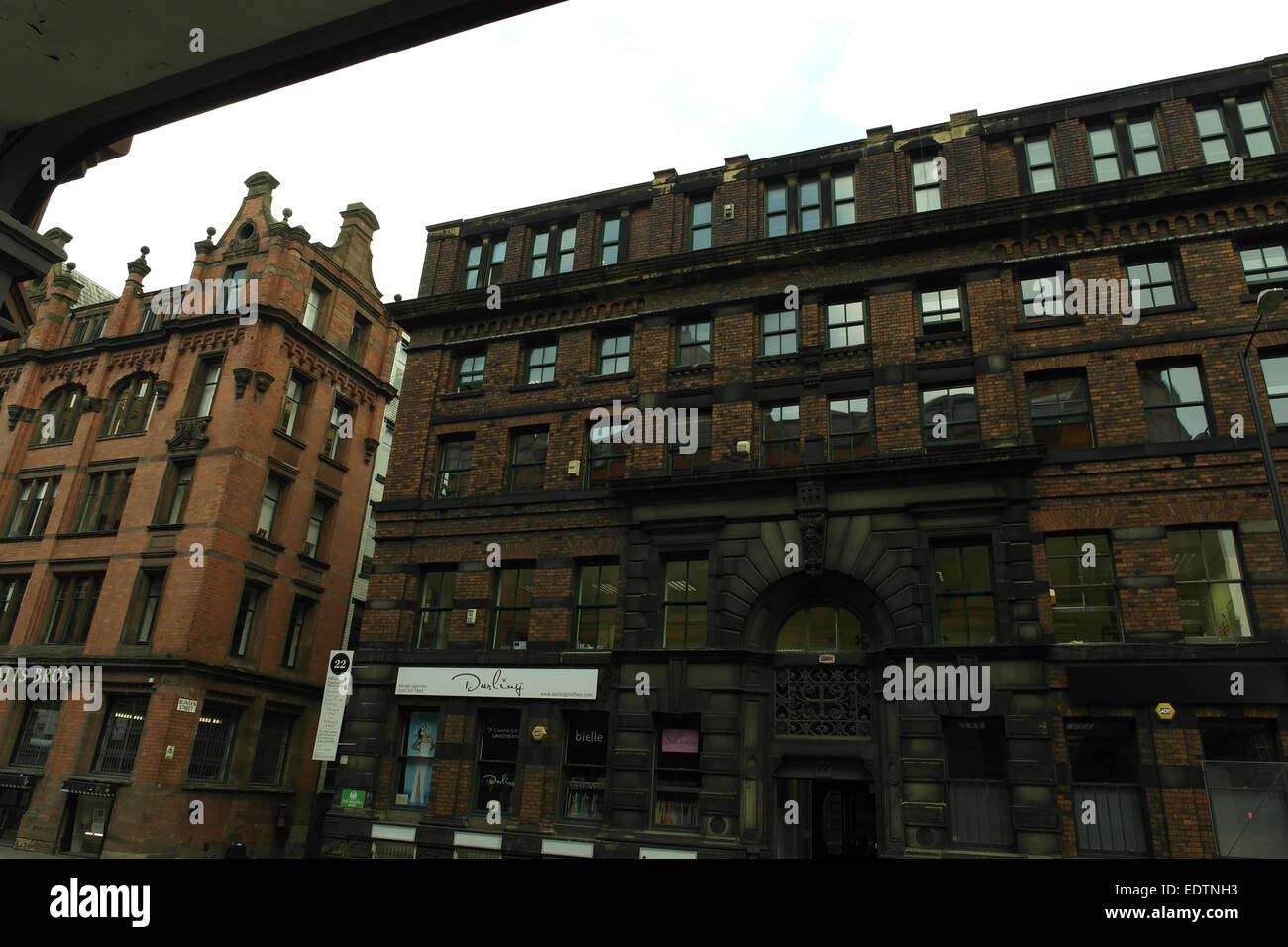 Grey sky view, from Real Camera Co, Grade 2 Listed Watts Brothers and 22 Lever Street Buildings, Northern Quarter, Stock Photo