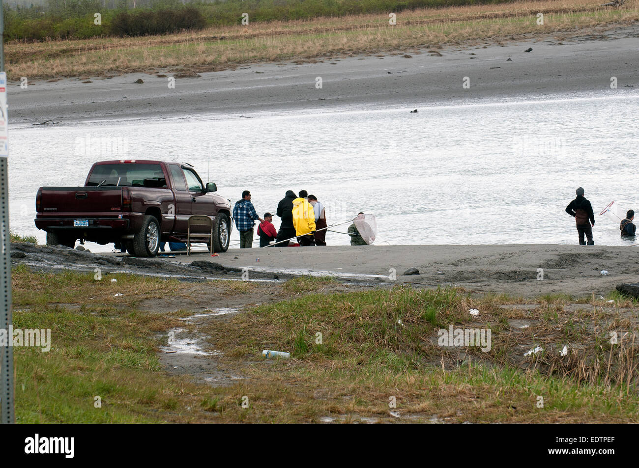 Dipnetting for Hooligans (Herring) at 20 mile river - Stock Image