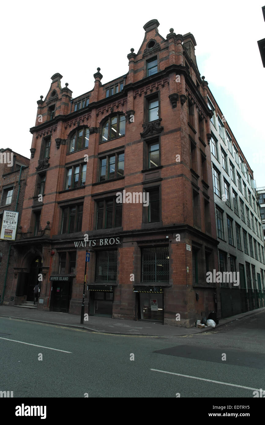 White sky portrait, Lever Street at Bunsen Street, Grade 2 Listed 'Watt's Brothers' Building, Northern Quarter, Stock Photo