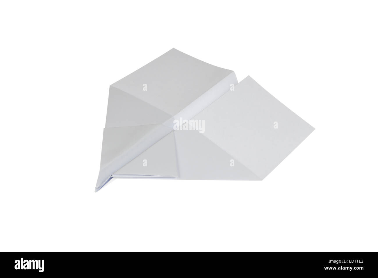Paper Airplane in swallow shape isolated on white background - Stock Image
