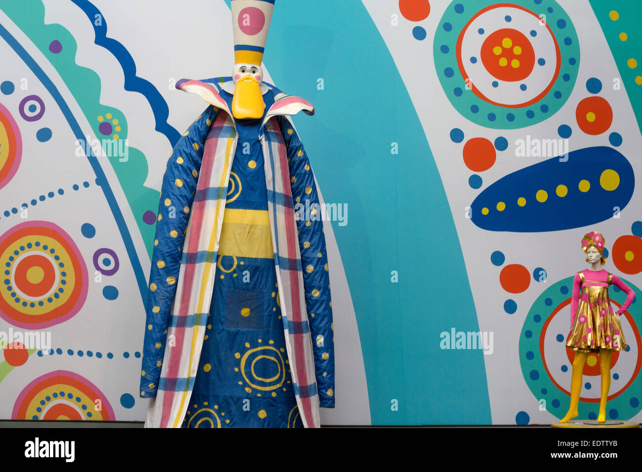 VDNKh presents the exhibition of props and costumes created for the Opening Ceremony of the 22nd Winter Olympic - Stock Image