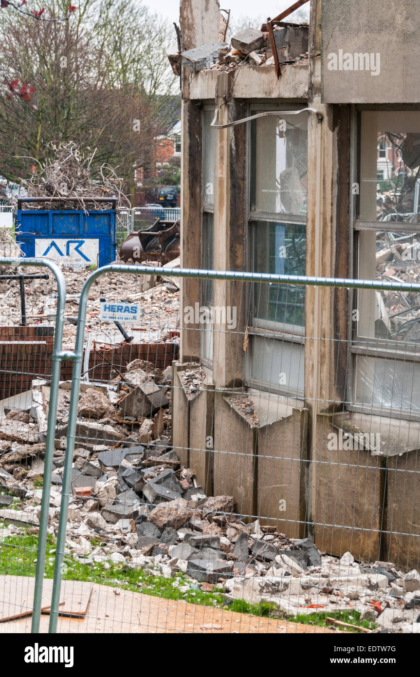 1960s style building that was formerly the Hinckley and Bosworth Borough Council offices being demolished in 2014 - Stock Image